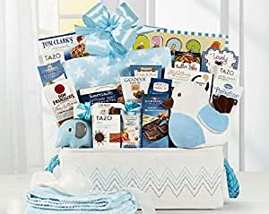 GOURMET GIFT BASKET, Welcome Home Baby Boy, NEW BABY