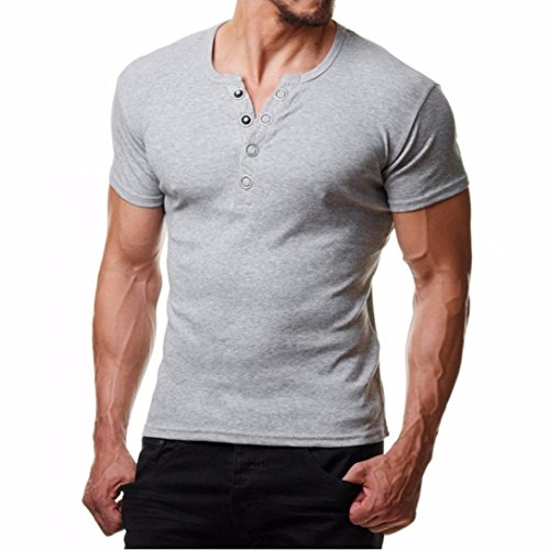 Price comparison product image Promotions! Mens Metal Round Buckle T-Shirt Button Blouse Short Sleeve Fit Pollover Top by JSPOYOU (XL,  Gray)