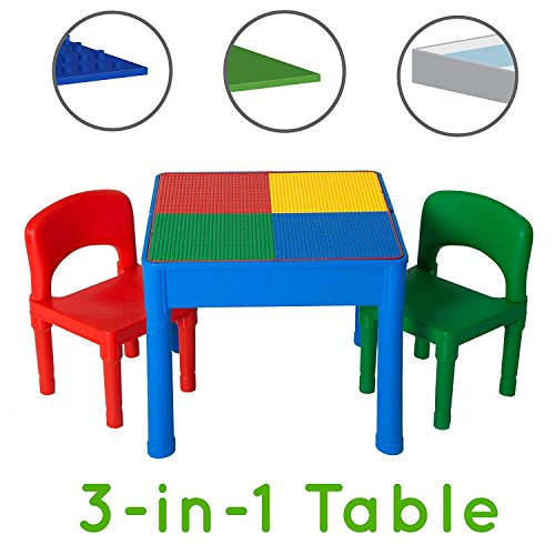 Play Platoon Kids Activity Table Set - 3 in 1 Water Table, Craft Table and Building Brick Table with Storage - Includes 2 Chairs and 25 Jumbo Bricks - Primary - Older Lego Kids Table For
