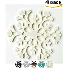 """Drink Coasters Absorbent, Felt Coasters Set of 4, Coffee Cup Mats, Flower Coasters Large 4.5"""" Size,MDCharm (Ivory)"""