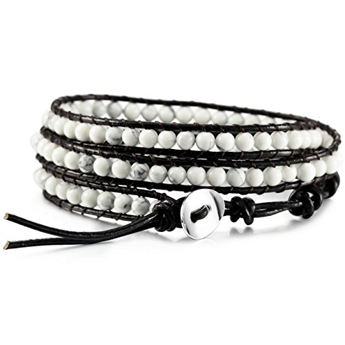 MOWOM White Alloy Genuine Leather Bracelet Bangle Cuff Rope Simulated Turquoise Bead 3 Wrap Adjustable