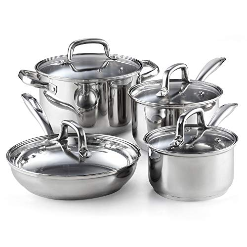 Cook N Home 02606 8-Piece Stainless Steel Cookware Set, ()
