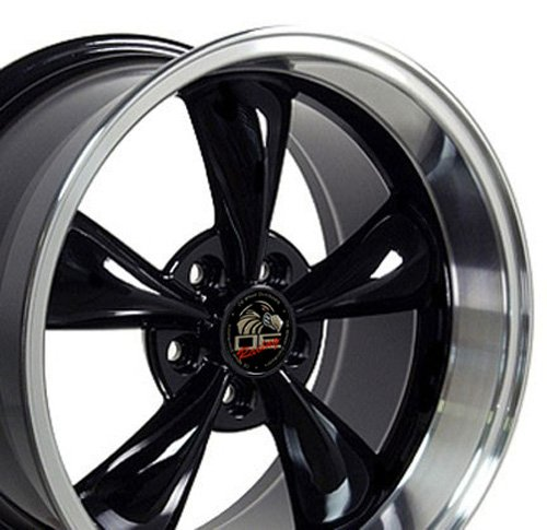 Black Bullitt Wheel - OE Wheels 17 Inch Fit Ford Mustang Bullitt Style Black Mach'd Lip 17x10.5/17x9 Staggered Rims SET