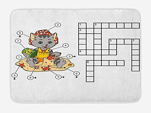 Weeosazg Word Search Puzzle Bath Mat, Crossword Game for Children Cute Cat on Beach and Building Sand Castles, Plush Bathroom Decor Mat with Non Slip Backing, 23.6 W X 15.7W Inches, Multicolor]()