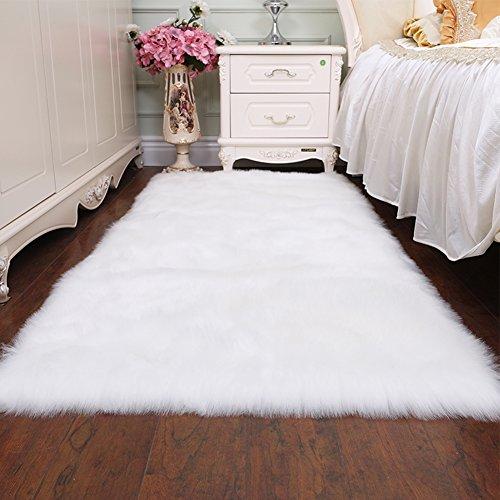 Junovo Soft Faux Sheepskin Fur Rectangle Area Rugs for Bedroom Floor Sofa Living Room, 2ft x 4ft White