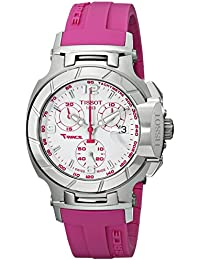 Womens T0482171701701 T-Race White Dial Pink Silicone Strap Watch