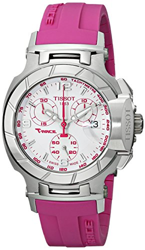 Tissot Women's T0482171701701 T-Race White Dial Pink Silicone Strap Watch by Tissot