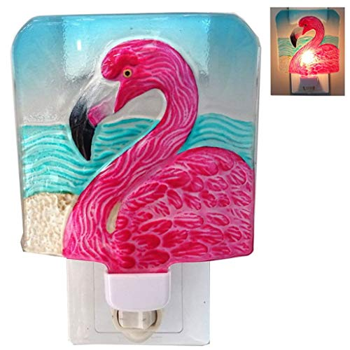 Chesapeake Bay Glass Pink Flamingo Night Light With Swivel Plug 69749 5.75 Inches x 4.25 Inches