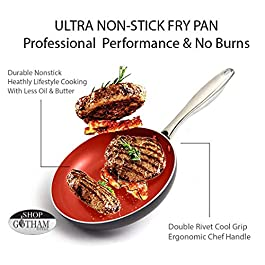 Fire & Earth NEW Toxin Free Ceramic Nonstick Safe Open pressed Frypan 9.5″ (1)