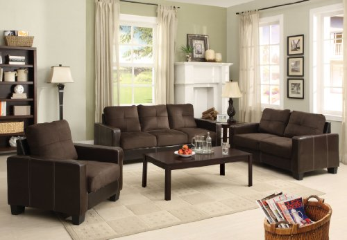 Furniture of America Nappa 3-Piece Microfiber Sofa Set, Chocolate & Espresso