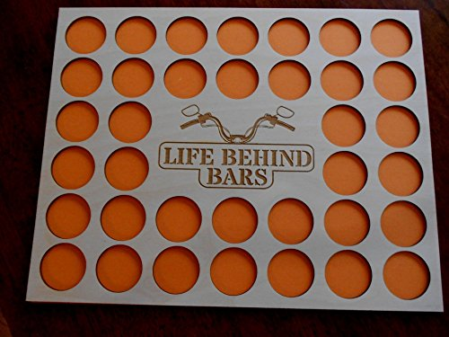 "Poker Chip Display Frame Insert, holds 36 Harley-Davidson or Casino chips, natural birch chip holder, 11 by 14"" insert, laser-engraved Life Behind Bars"