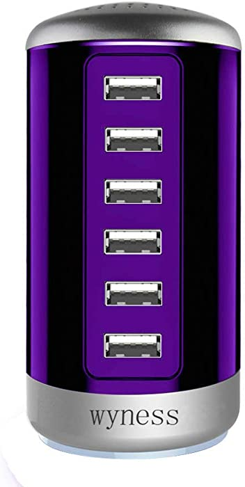Universal USB Charger 6-Port Desktop USB Hub Charging Station with Smart Identification Technology for Phone,Tablets,and More (Purple)