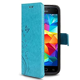 Galaxy S5 Case, Premiun Wallet Leather Credit Card Holder Butterfly Flower Pattern Flip Folio Stand Case for Samsung Galaxy S5 NEO With a Wrist Strap (Blue)