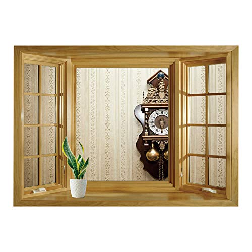 Wood Clock Striped (SCOCICI Window Mural Wall Sticker/Clock Decor,an Antique Wood Carving Clock with Roman Numerals Hanging on The Wall Design,Brown and Tan/Wall Sticker Mural)