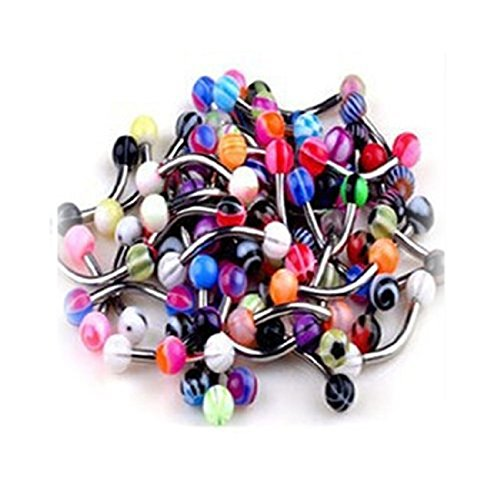 (PiercingJ 20pcs 16G Eyebrow Piercing Curved Stainless Steel Barbell UV Ball Spike Mixed Piercing Gauge Jewelery Assorted Colors-7/16)