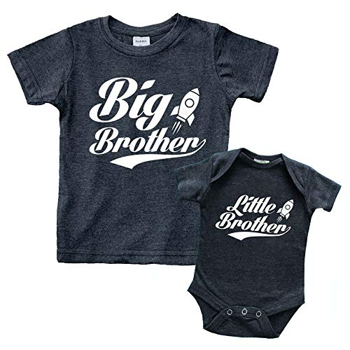 Big Brother Little Brother Shirts Matching Outfits Sibling Gifts Baby Set (Charcoal Black, Kids (12M) / Baby (3-6M))