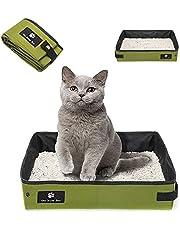 Vikbar kattlåda, bärbar kattlåda, hopfällbar bärbar kattlåda, hopfällbar resestänglåda, hopfällbar kattlåda med stor kapacitet, kan användas för hem, utomhus, resor (grön)