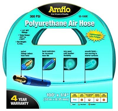 "Amflo 12-100E Blue 300 PSI Polyurethane Air Hose 1/4"" x 100 1/4"" MNPT Swivel Ends Bend Restrictor Fittings"