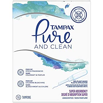 Pure & Clean Tampons with Plastic Applicator, Super Absorbency, Unscented, 16 Count