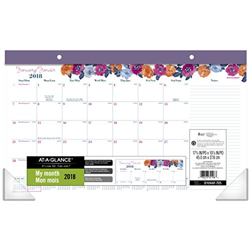 AT-A-GLANCE 2018 Compact Monthly Desk Pad Calendar, 17-3/4 x 10-7/8 Inches, January - December, Eva (D1044F-705)