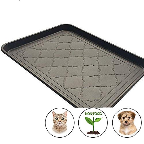 "Easyology Premium Pet Food Tray – Dog Food Mat and Cat Food Mat with Non Skid Design – Best Pet Bowl Mat for Containing Spills and as Pet Food Mat Feeding Mat- Shoe Tray, Boot Tray 17.5"" x 14"" Review"