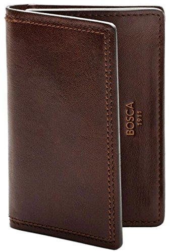 Leather Gusset Card Case (Bosca Mens Dolce Collection - Full Gusset Two-Pocket Card Case w/ I.D. (Dark Brown))