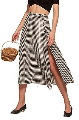 WANEE Women's High Waist Midi Split Button Plaid Skirt A-line Skirt