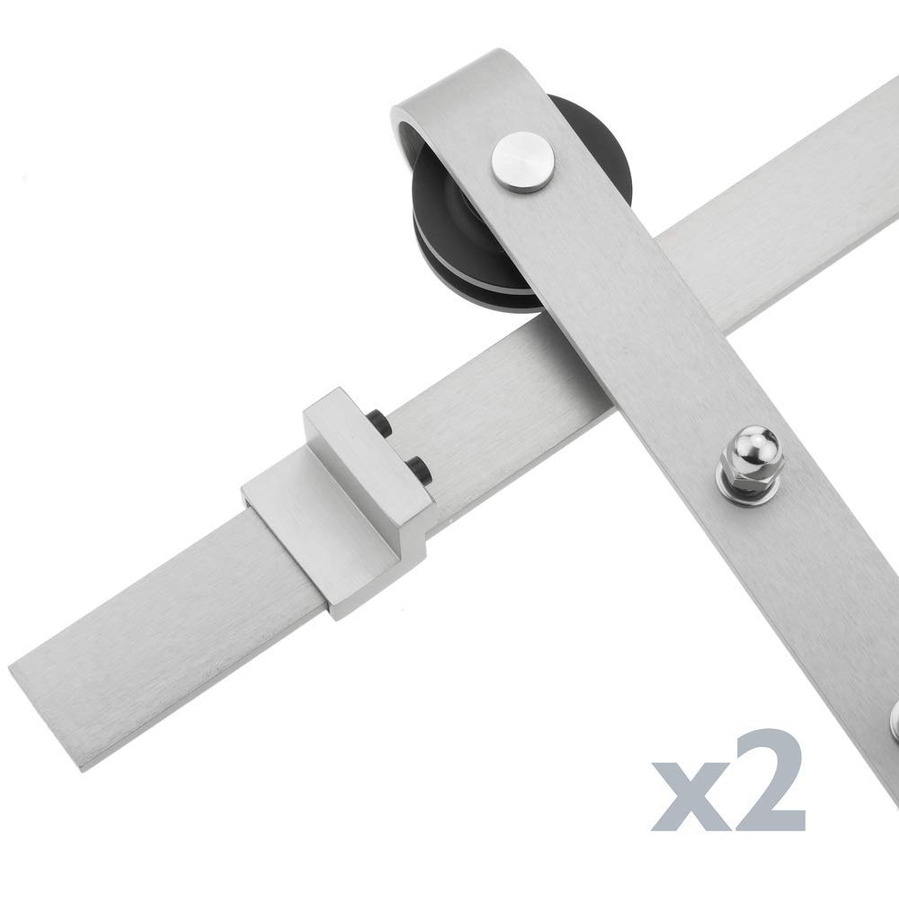 PrimeMatik Rail gu/ía para Puerta corredera de Color Acero Mate de 2m