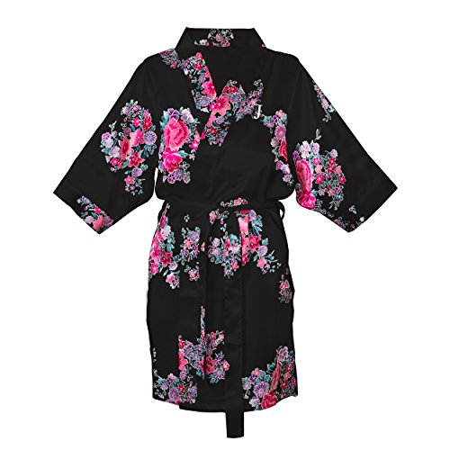 Cathy's Concepts Personalized S/M Floral Satin Robe, Blac...