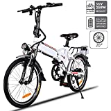 "Aceshin 20"" Folding Electric Bike Shimano 7 Speed E-Bike, 36V Lithium Battery 250W Motor Electric Bicycle for Adults"