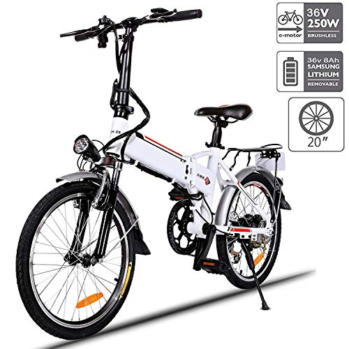Aceshin 20' Folding Electric Bike Shimano 7 Speed E-Bike, 36V Lithium Battery 250W Motor Electric Bicycle for Adults