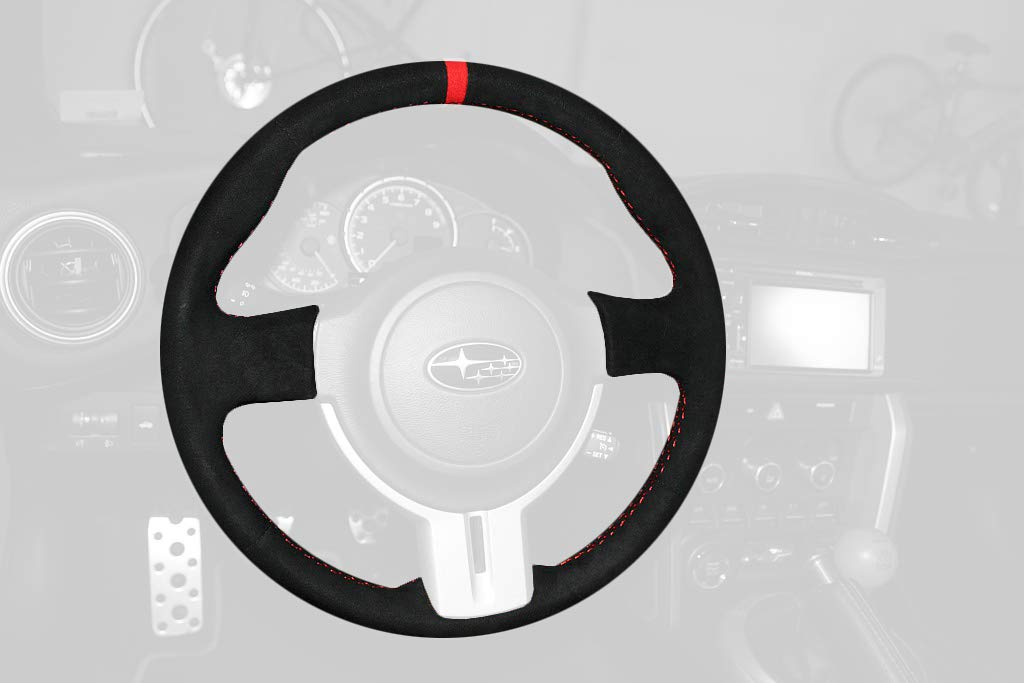 RedlineGoods Gauge Hood Cover Compatible with Toyota GT86 2012-19 Black Leather-Red Thread