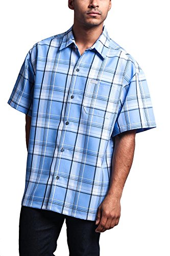 (G-Style USA Western Casual Checkered Plaid Short Sleeve Button up Shirt Y1000 - Sky - 2X-Large)