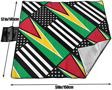 Bandiera USA Guyana Coperta da Picnic Tappetino da Picnic Coperta da Picnic Tote Handy Camping Beach Escursionismo Mat 145X150cm