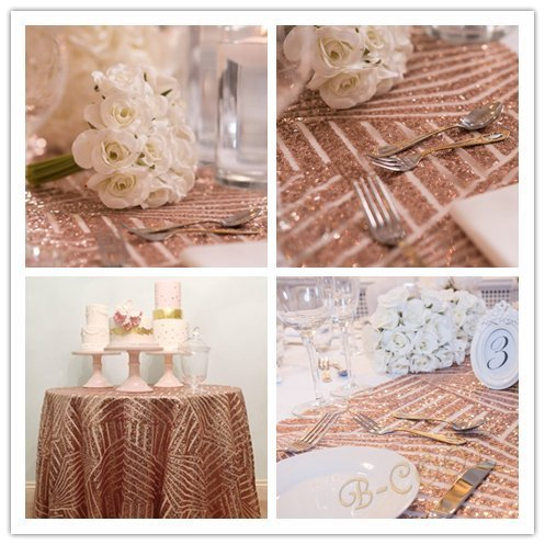 B-COOL 50Inch Round Sequin Tablecloths Geometric Rose Gold Diamond Wedding Sequin Tablecloth Christmas Sequin Fabric Cake Tablecloth Art Decoration (Christmas Decorations Rose)