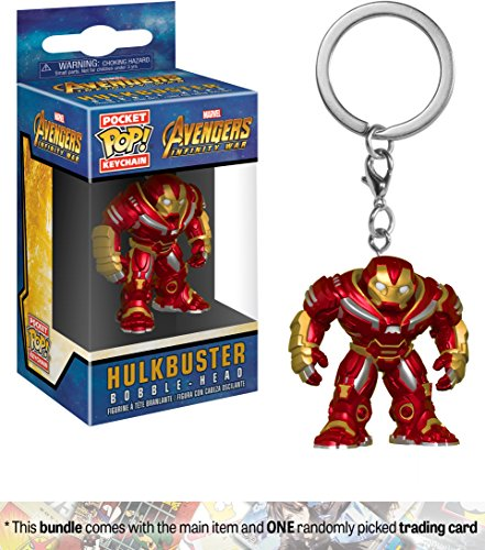 Hulkbuster: Funko Pocket POP! x Avengers - Infinity War Mini-Figural Keychain + 1 Official Marvel Trading Card Bundle