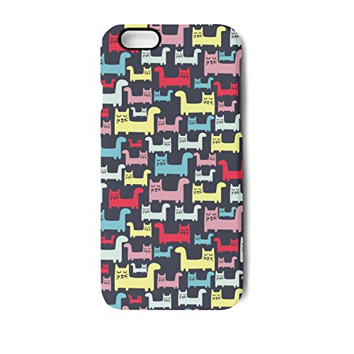 (IPhone 6/6s Case Colourful Cats Black Background Bumper Matte TPU Soft Rubber Silicone Protective Back Cover)