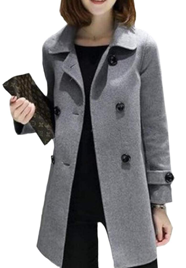 M/&S/&W Womens Wool Blended Lapel Casual Double-Breasted Solid Color Pea Coat