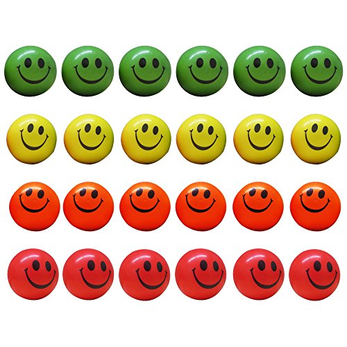 Dazzling Toys Smile Face Squeezable Stress Balls 12 Pack - Neon Colored Tension Relief Activity Balls Set of 12- Pressure Relieving Health Balls - Therapeutic Relaxing Smile Squeeze Ball ()