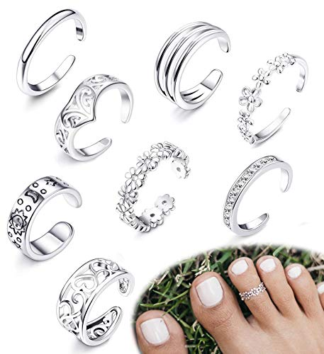 FIBO STEEL 8 Pcs Open Toe Rings for Women Girls Vintage Cute Band Toe Ring Adjustable ()