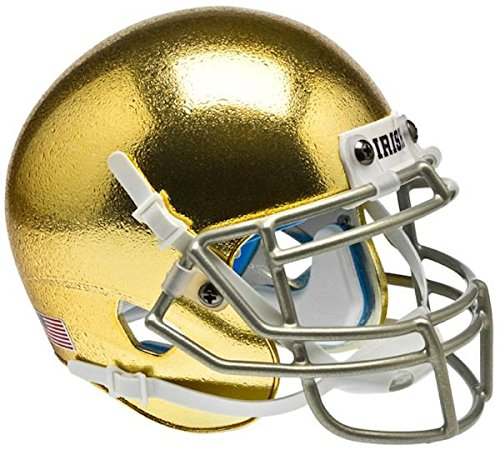 Schutt Notre Dame Fighting Irish Mini XP Authentic Helmet - Textured with Metallic Mask - NCAA Licensed - Notre Dame Fighting Irish Collectibles
