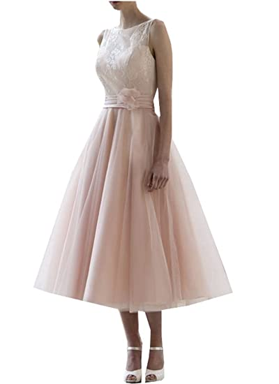 Special Bridal Ball Gown Tulle Short Pink Wedding Dresses Sleeveless Tea  Length: Amazon.co.uk: Clothing