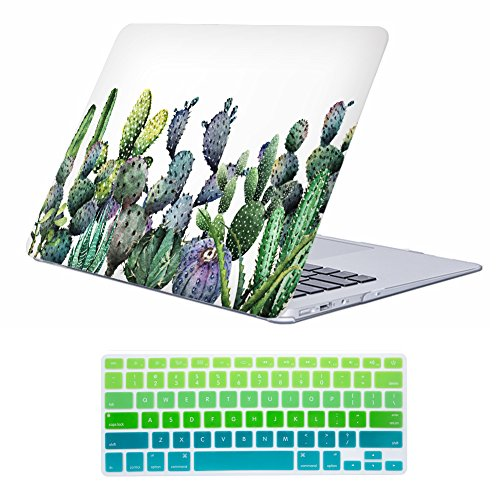 iLeadon MacBook Air 13 inch Protective Hard Case Soft Touch Ultra Thin Shell Cover+Keyboard Cover for MacBook Air 13 inch Model A1369/A1466 (MacBook Air 13, Cactus)