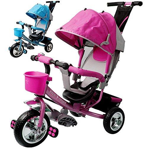 Dreirad aus Metall mit abnehmbarer Schubstange Sonnendach Kinderdreirad Schiebestange Free Angel Pink