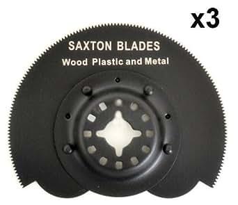 Saxton - Conjunto de 3 hojas segmentadas oscilantes para Fein Multimaster, Bosch, Makita y multiherramienta