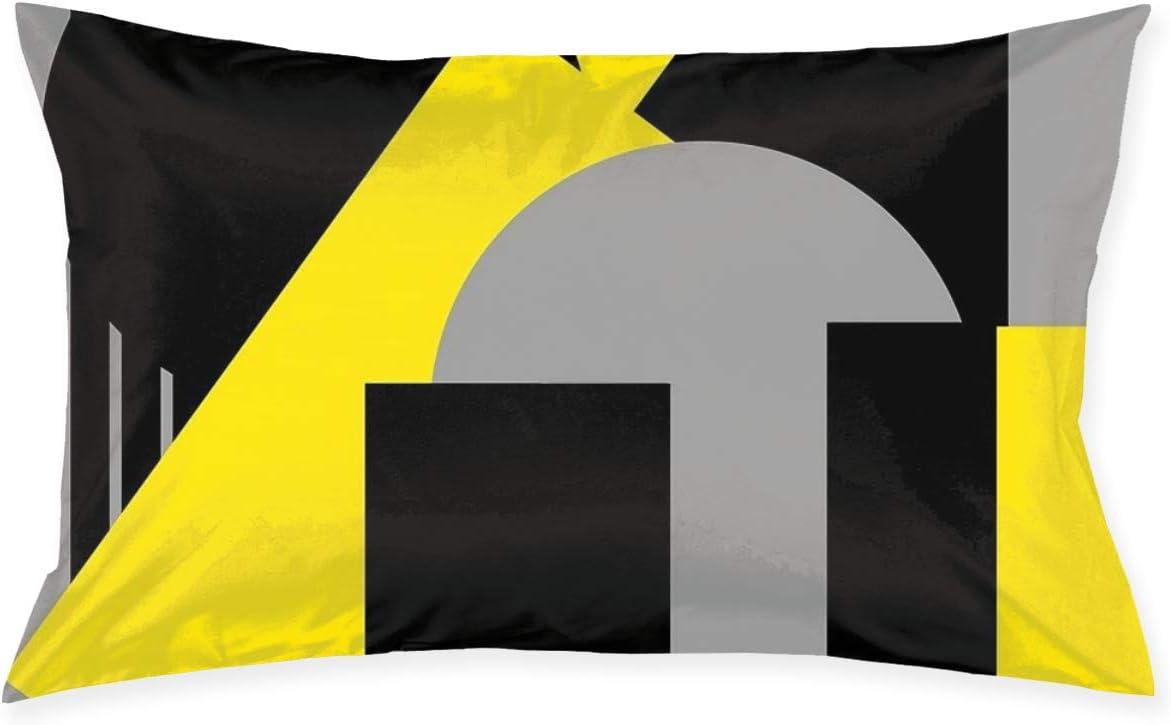 KCOUU Fundas de cojín geométricas abstractas Art Deco Mash Up gris amarillo fundas de almohada tamaño Queen suave de microfibra de color sólido, no se arruga resistente a la decoloración transpirable