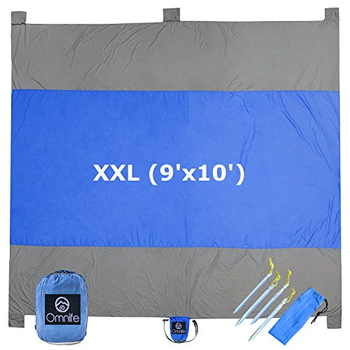 Omnife Oversized Sand Free Beach Blanket (XXL - 9'x10') 100% Parachute Nylon - Include 6 Built-in Sand Pockets + 4 Anchor Loops and Metal Stakes