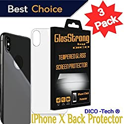 GlasStrong9H Hardness HD Screen protector for Apple IPHONE X BACK Tempered glass Clear Film IPHONE Anti Scratch Anti Fingerprint High Light Case Friendly 3 Pack kit set Retail packaging