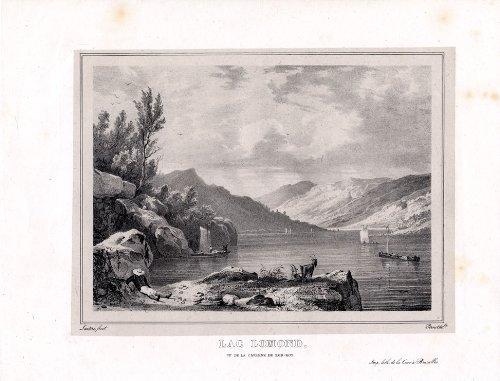 Impresión antigua-Lomond ThePrintsCollector lago-Rob-Roy-Escocia-Pernot-1827