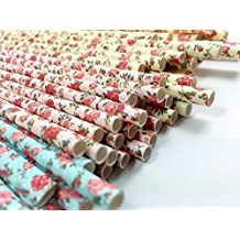 Floral Paper Straws (75 Pack) - 100% Biodegradable, Excellent Quality, Trendy & Beautiful Paper Straws for All Occasions! (Jumbo Size)
